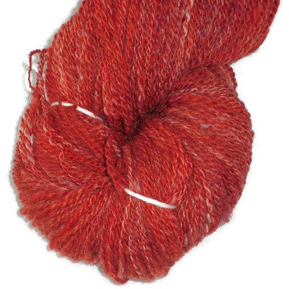 Luxury Handspun Hand Dyed 2-ply Superwash Soft BFL Wool Yarn - Red Handspun Fingering - Hand Dyed Wool Yarn - Rusty Red Yarn - Superwash
