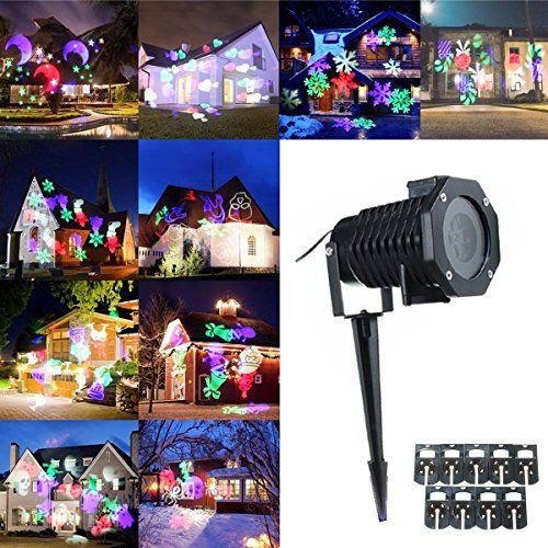 KING DO WAY Kit De «10 Motifs» LED Projecteur Extérieur Lumière De Jardin Lampe Décorative Eclairage Etanche Extérieure Paysage Décor…