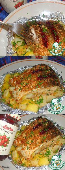 Рыба, запеченная в фольге, с картофелем и репчатым луком - кулинарный рецепт