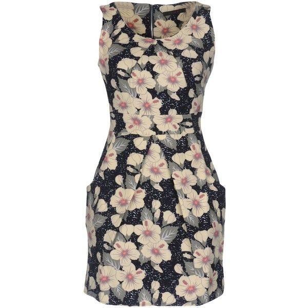 Tenki Short Dress ($74) ❤ liked on Polyvore featuring dresses, dark blue, short dresses, no sleeve dress, deep blue dress, sleeveless dress and sleeveless short dress
