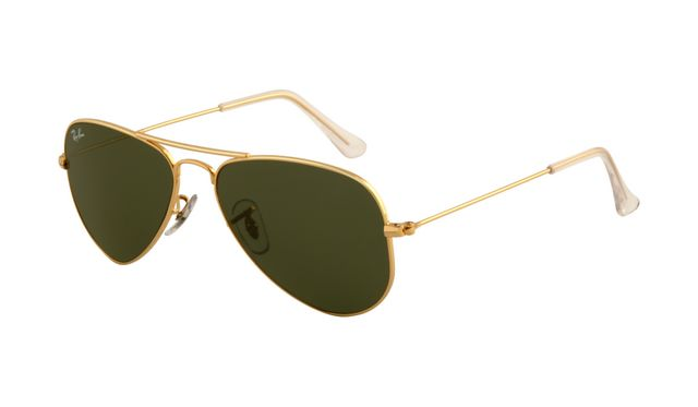 Ray Ban RB3044 Aviator Sunglasses Arista Frame Crystal Deep Gree