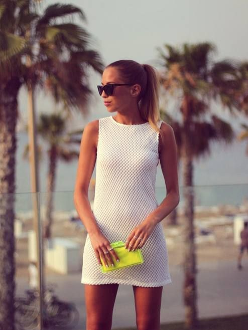 Summer 2014 Trends. Mesh dresses. White on white with a pop of color. I'm all white this summer