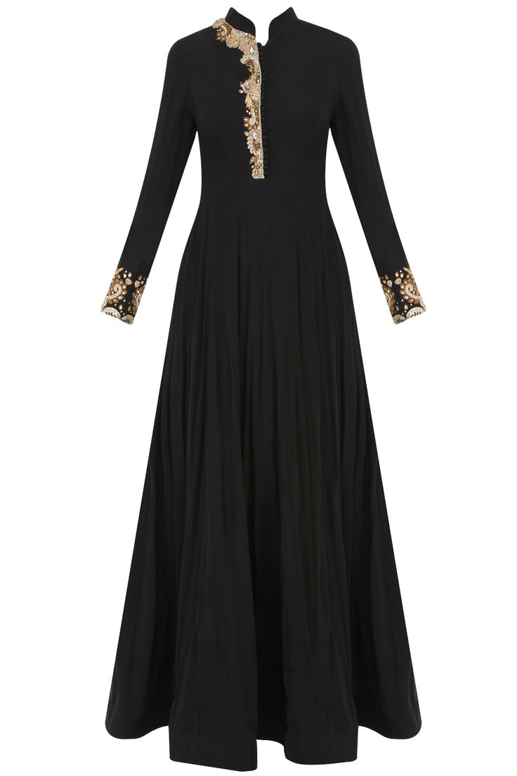 Black dabka and nakshi embroidered anarkali set available only at Pernia's Pop Up Shop.