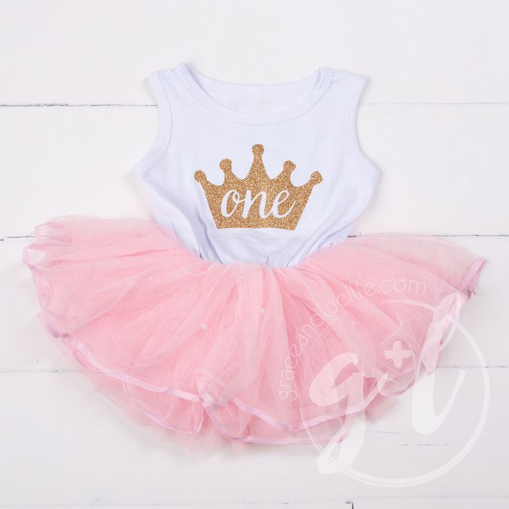 """1st Birthday Dress Gold Crown """"ONE"""" White Sleeveless with attached Pink Tutu"""