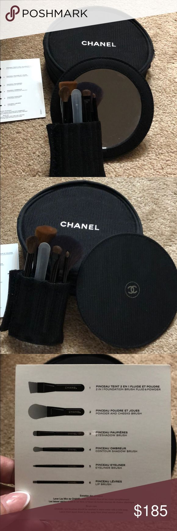 Chanel travel makeup brush set w/mirror and case 100