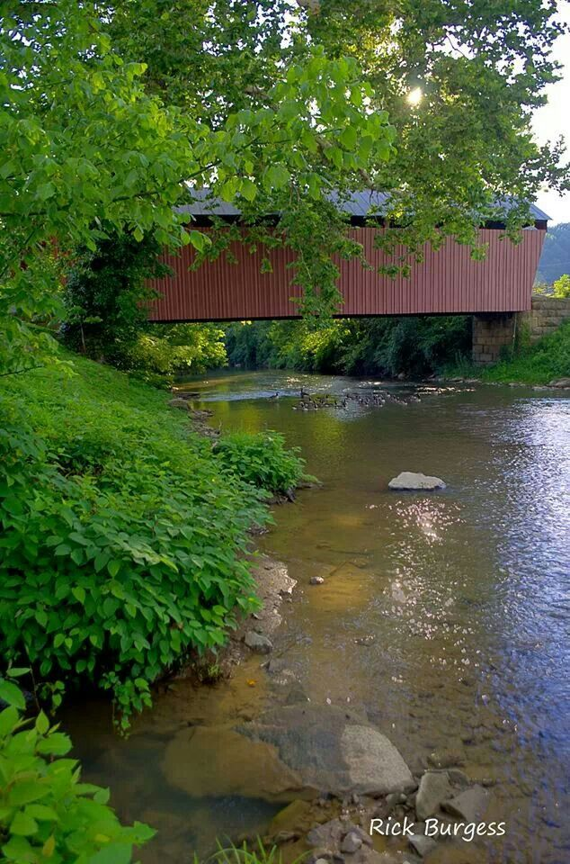 Simpson Creek Covered Bridge in Harrison County, West Virginia by Rick Burgess