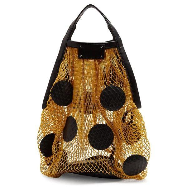 Maison Margiela Polka-dot fishnet shoulder bag (€695) ❤ liked on Polyvore featuring bags, handbags, shoulder bags, pouch purse, polka dot purse, shoulder bag purse, zipper purse and zipper shoulder bag