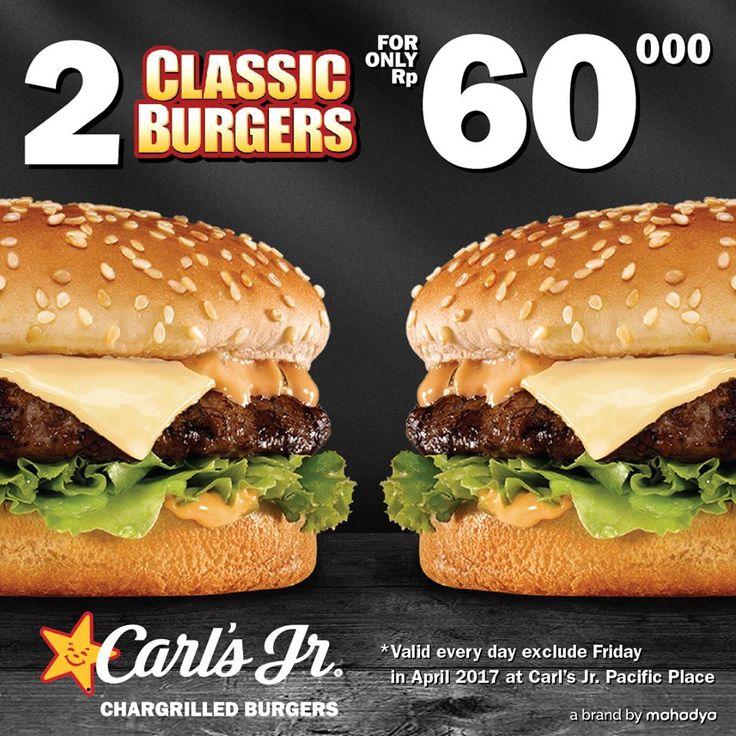 arls Jr Promo Beli 2 Classic Burger http://www.perutgendut.com/read/carls-jr-promo-beli-2-classic-burger/5535 #PerutGendut #Food #Kuliner #News #Indonesia #WisataKuliner #Promo