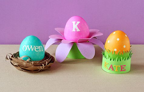 Eggs used as place cards with names or initials. Perfect for an Easter Sunday brunch.