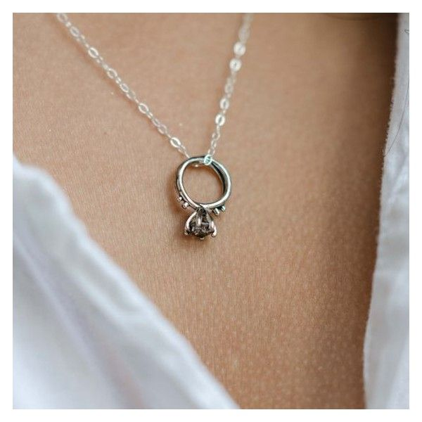 Promise Ring Necklace, Layering and Long Necklace, Antique Silver Ring... ❤ liked on Polyvore featuring jewelry, necklaces, layered chain necklace, long necklaces, long chain pendant, chain pendants and layered necklace
