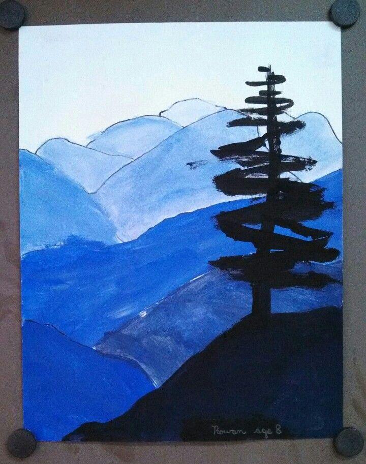 Elementary Art. 3rd Grade Tints and Shades. Landscape Blue Ridge Mountains. Art teacher Jennifer Lipsey Edwards