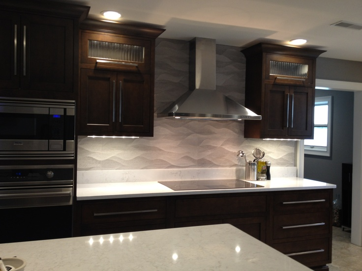Backsplash And Countertop Ideas Part - 43: Remodeled Kitchen Wavy Porcelanosa Backsplash, GE Monogram Induction  Cooktop, Cambria Countertop, WW Wood