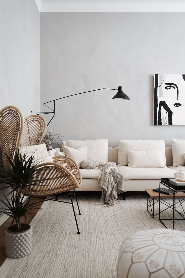 Modern Minimalism In The Home Of Tthese Beautiful Thingss The Grey Limestone Walls Adds Depth Living Room Scandinavian Living Room Designs Living Room Inspo