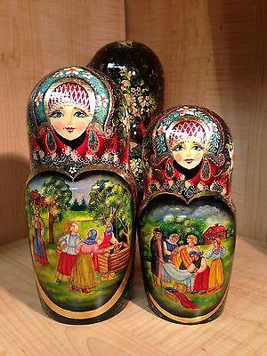 "RUSSIAN COUNTRY SCENES by STEPKAEVA RUSSIAN MATRYOSHKA NESTING DOLL 12 3/4"" 15pc"