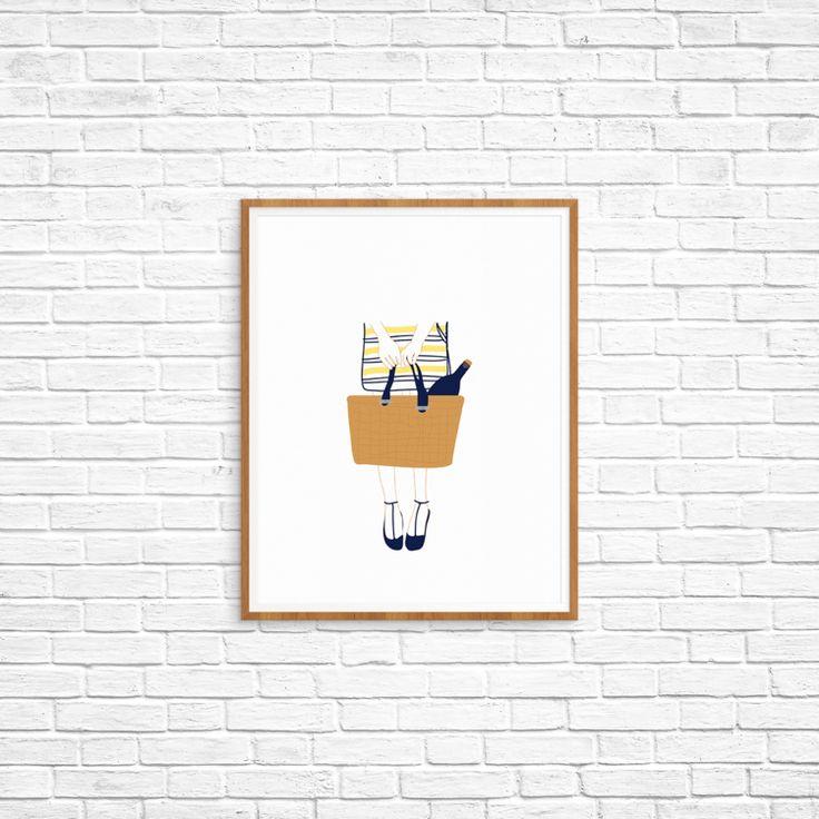 "8x10"" Wine Girl custom art print order online, print at home"