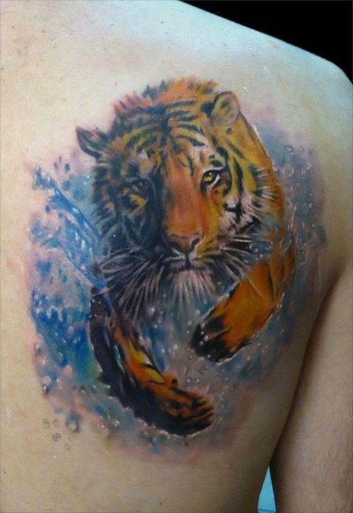 Dessin tigre sortant de l'eau en courant