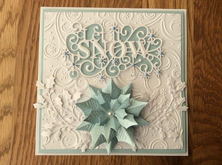 Stunning Handmade 3D LET IT SNOW CHRISTMAS Card Topper Blue/White Poinsettia