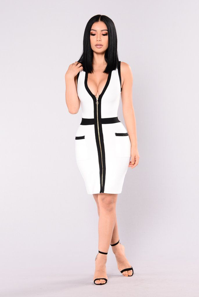 Aviana Bandage Dress - White/Black