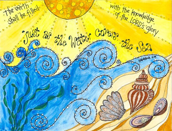 "Habakkuk 2:14 Ocean Scripture Art, ""As the Water Covers the Sea"" 11x14 or 8x10 print, Catholic, Christian, beach, shells, ocean, boys room on Etsy, $20.00"