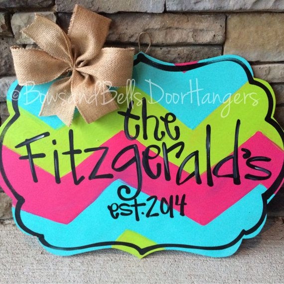 Nameplate door sign monogram door hanger by BowsandBellsHangers
