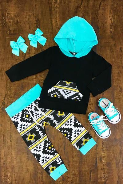 Turquoise Aztec Infant Hoodie Pant Set