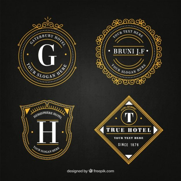Logotipos elegantes hotéis em pacote do estilo do vintage Vetor grátis