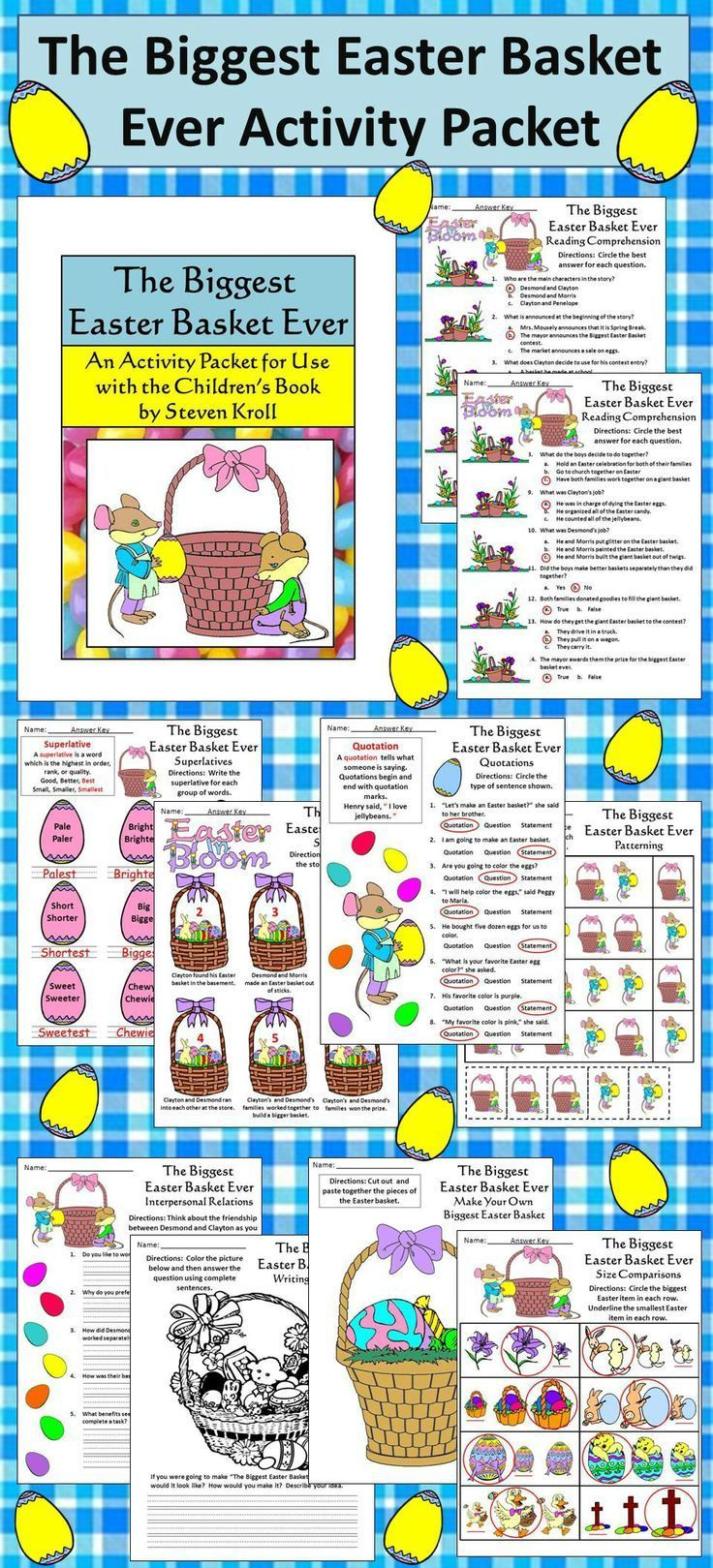 The Biggest Easter Basket Ever Activity Packet: This colorful Easter reading activity packet complements the children's book, The Biggest Easter Basket Ever, by Steven Kroll.  Contents include: * Reading Comprehension Quiz * Sequencing Worksheet * Biggest