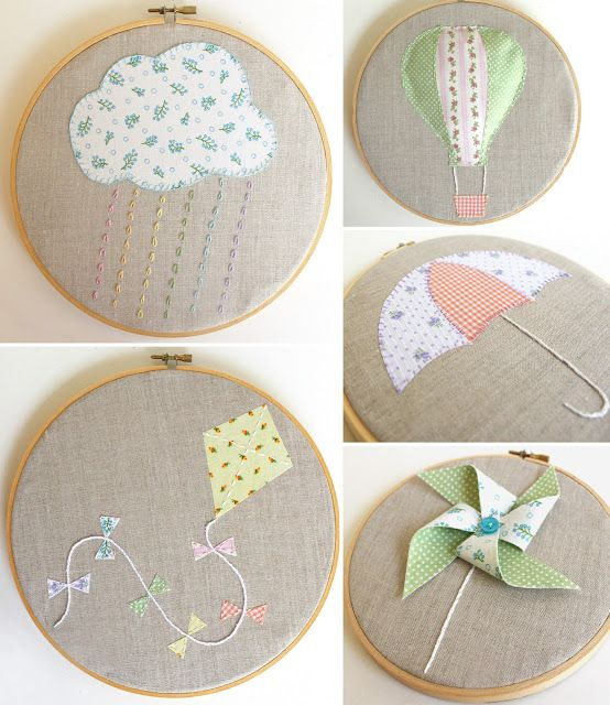 Cutesy Crafts: Embroidery Hoop Art. Great for teaching children about the weather. Could put up a different one each day. Would add a sun and clouds without rain...thunderstorm...etc.
