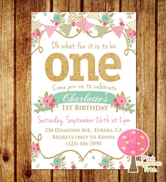 Shabby Chic First Birthday Party Invitation, Gold Glitter ONE by PinkLemonadeTree