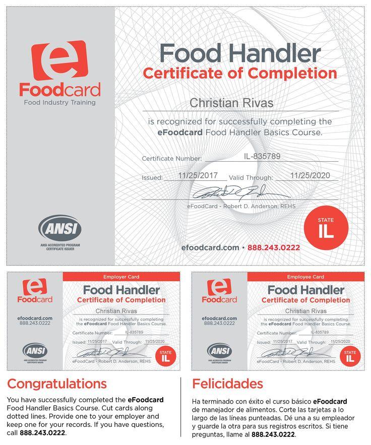 Food Handler Card Employees card, Cards, Certificate of