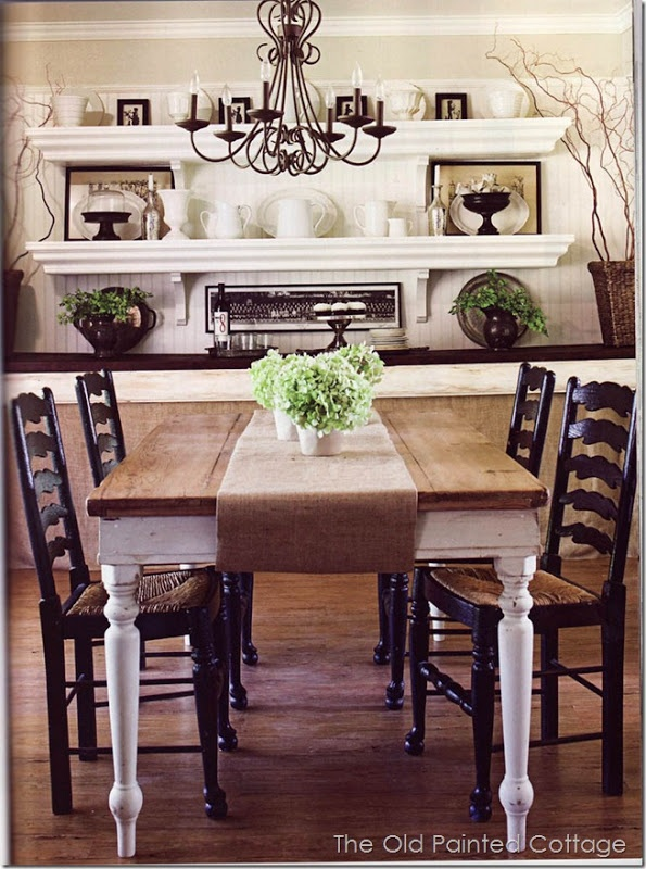 Cottagestyle6 farmhouse table and built in shelves with for Cute dining table
