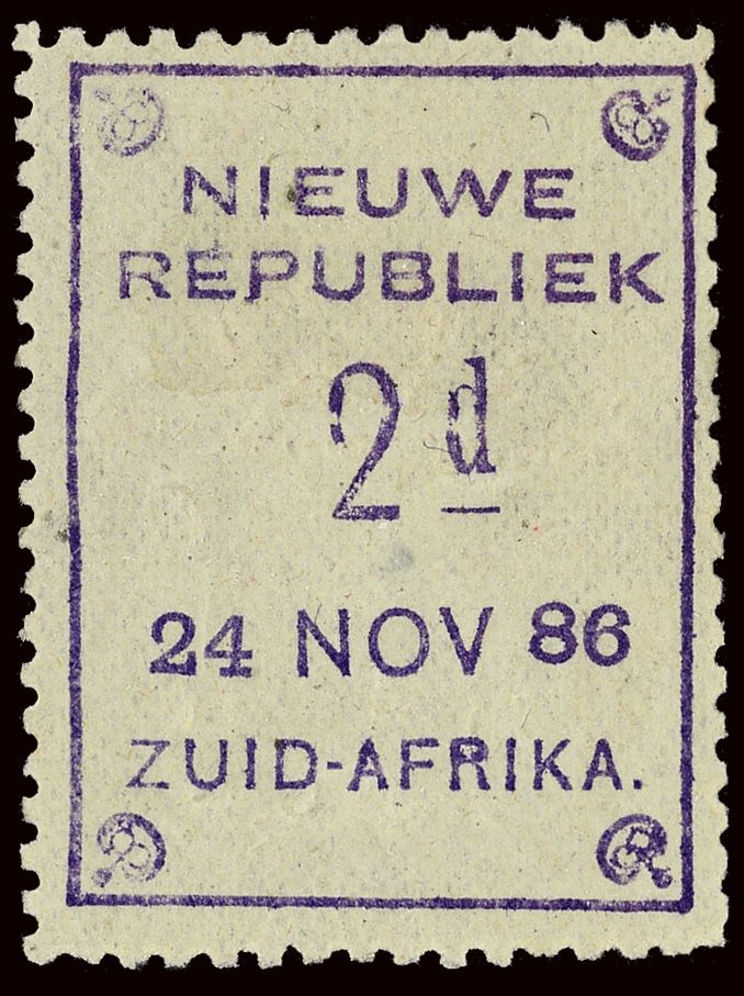 Nieuwe Républiek 38a (49a) 1886 2d violet on yellow with embossed arms (24 NOV 86), ERROR - arms inverted