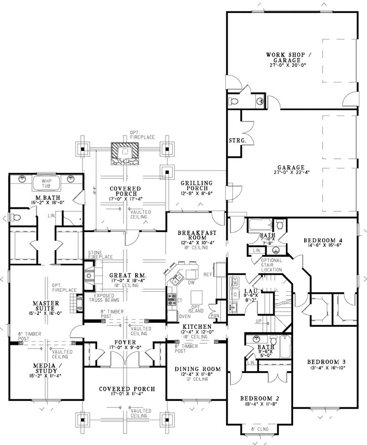 Bungalow Style House Plans - 3206 Square Foot Home , 2 Story, 4 Bedroom and 3 Bath, 3 Garage Stalls by Monster House Plans - Plan 12-1126