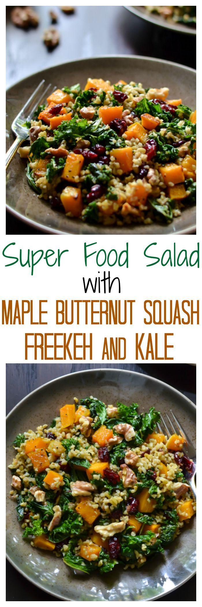 Maple Butternut Squash Freekeh Salad with Kale