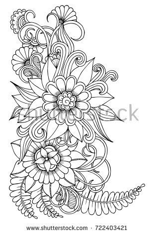 Black And White Flower Pattern For Adult Coloring Book