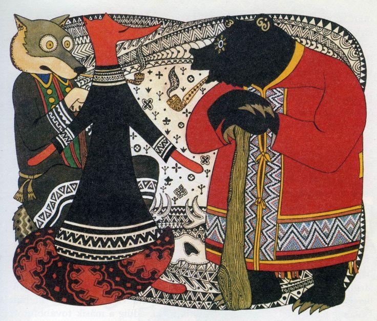 spot illustration, animal, fox, bear, wolf, patern, design, naive, ethnic, frame. Gennady Pavlishin