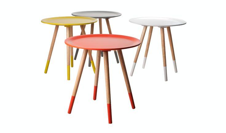 Design Beistelltisch Dreifuß aus Holz massiv, Farbe gelb-Naturholz - Kaufen bei richhomeshop