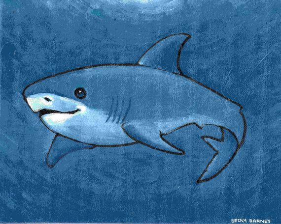 Blue Shark Original Painting On 8x10 Canvas Board Blue