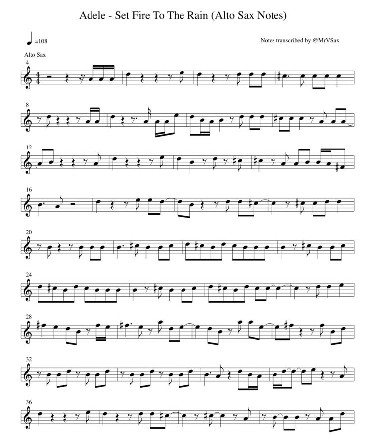 alto saxophone set fire to the rain | Adele – Set Fire To The Rain (Notes For Alto Sax)