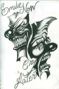 Cholo Art, Chicano Art, Chicano Tattoos, Clown Tattoo, Mask Tattoo, Latest Tattoo Design, Tattoo Designs, Cool Art Drawings, Tattoo Drawings
