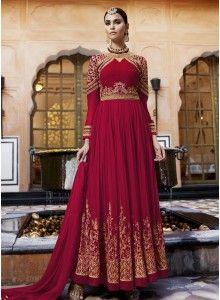Picturesque Maroon Floor Length Anarkali Suit