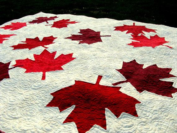 Canada quilt  Maple Leaf  wedding gift from home  by HouseofdeVeer, $1449.00