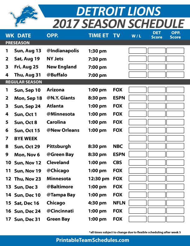 Detroit Lions Football Schedule 2017
