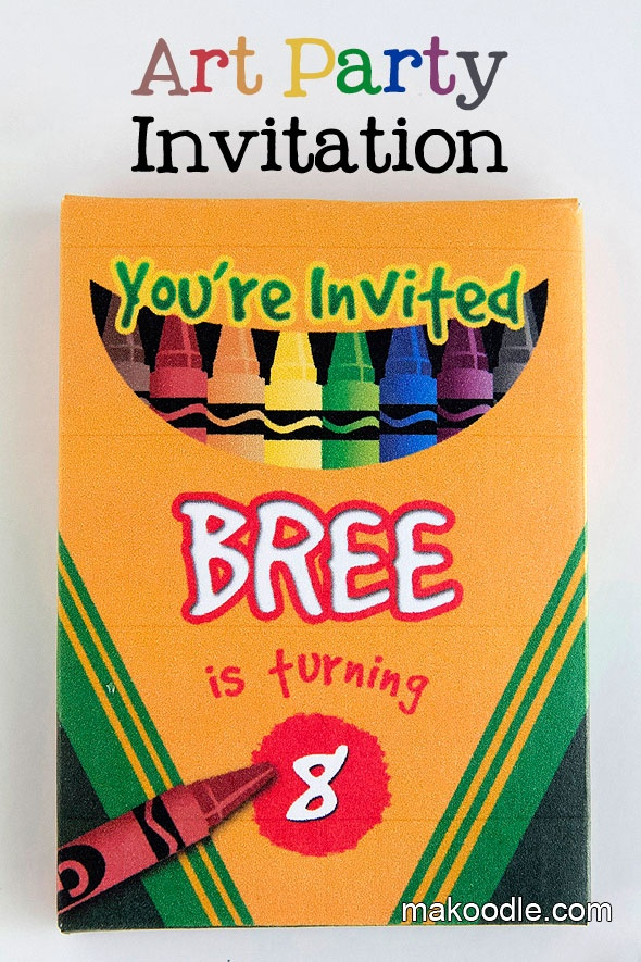 Art Birthday Party Invite for Kids Party - Crayon Box and Crayon Labels