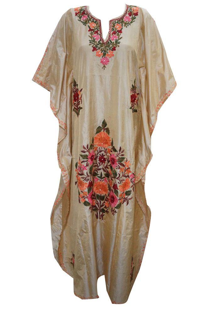 WOMEN'S CAFTAN  KIMONO KASHMIRI EMBROIDERED BEIGE BOHO CAFTAN LOUNGER DRESS #mogulinterior #CaftanNighty #SummerBeach