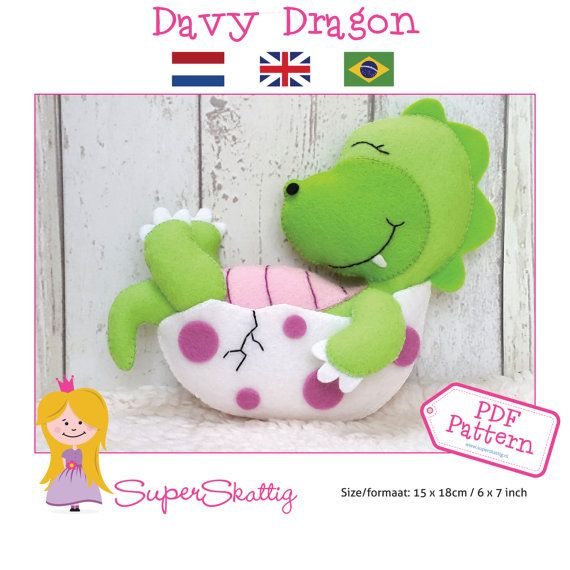 PDf pattern Davy Dragon felt pattern dragon by SuperSkattig