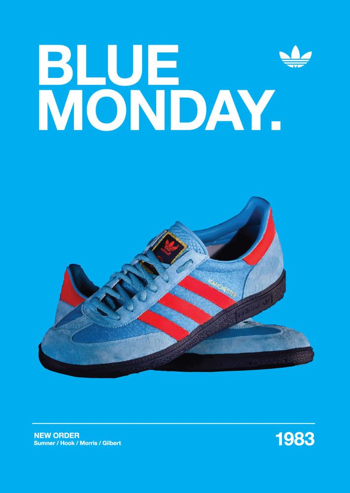 Adidas Manchester Originals New Order 'Blue Monday' A3 Artwork Blue Trainers