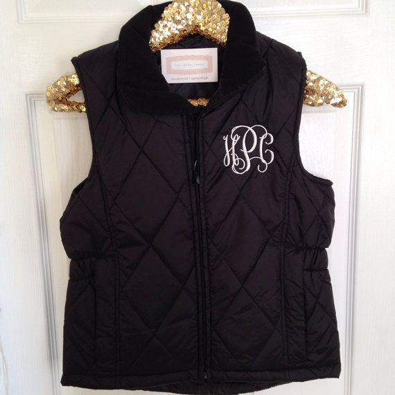 Monogrammed women s quilted puffer vest i would love one in black