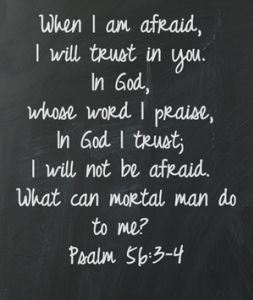 "Psalm 56:3-4 ""When I am afraid, I will trust in you. In God, whose word I praise, in God I trust; I will not be afraid. What can mortal man do to me?"""
