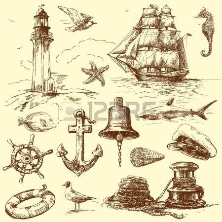 Hand gezeichnete Sammlung nautischer